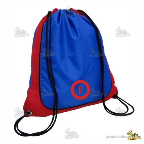ab7f6ac32 Mochila saco personalizada - Mochila saco com detalhe em tela colorida